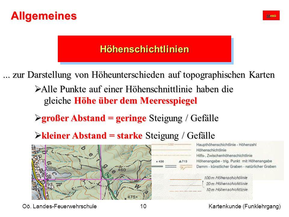 Oö. Landes-Feuerwehrschule Kartenkunde (Funklehrgang)10 HöhenschichtlinienHöhenschichtlinien... zur Darstellung von Höheunterschieden auf topographisc