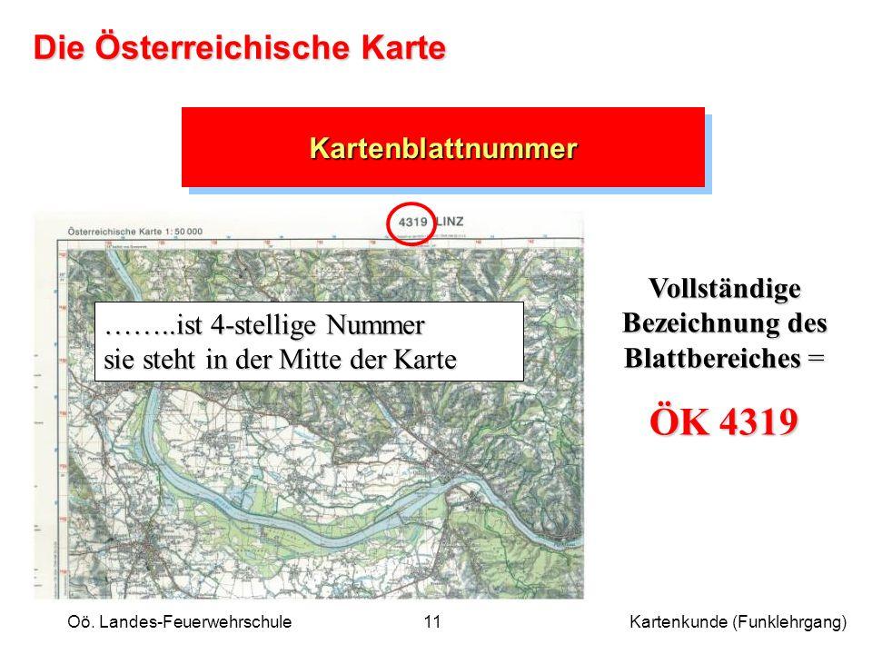 Oö. Landes-Feuerwehrschule Kartenkunde (Funklehrgang)11 KartenblattnummerKartenblattnummer ……..ist 4-stellige Nummer sie steht in der Mitte der Karte