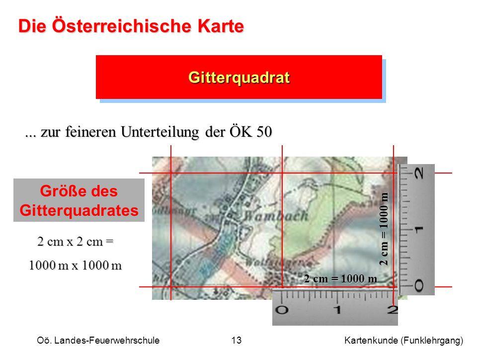 Oö. Landes-Feuerwehrschule Kartenkunde (Funklehrgang)13 GitterquadratGitterquadrat... zur feineren Unterteilung der ÖK 50 Größe des Gitterquadrates 2