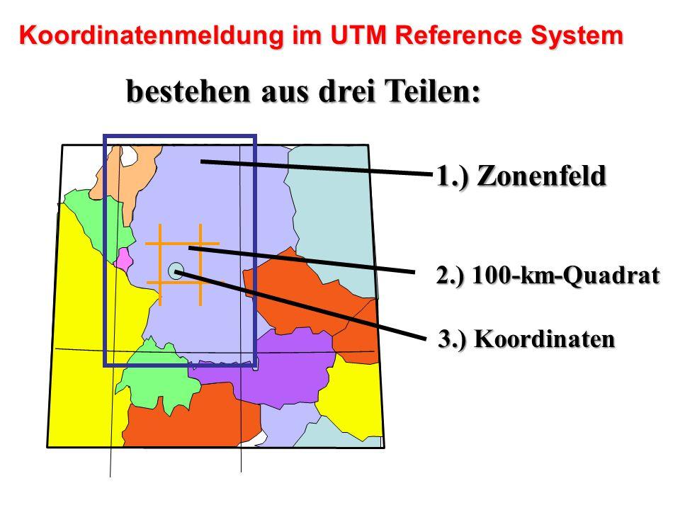 Koordinatenmeldung im UTM Reference System bestehen aus drei Teilen: 1.) Zonenfeld 1.) Zonenfeld 2.) 100-km-Quadrat 3.) Koordinaten