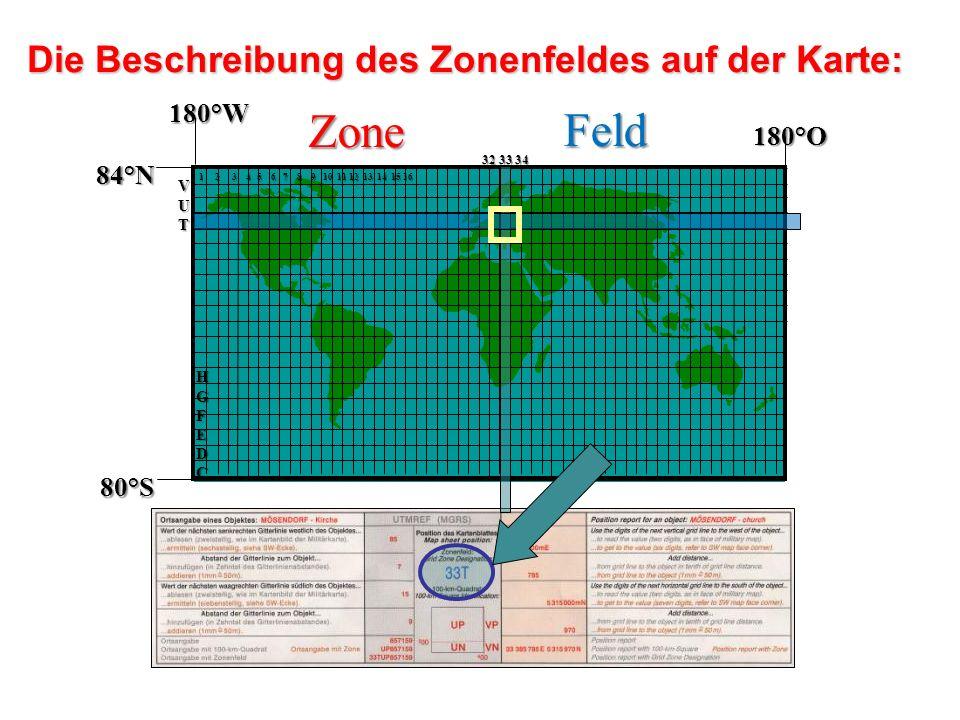 Die Beschreibung des Zonenfeldes auf der Karte: 84°N 80°S 180°W 180°O 1 2 3 4 5 6 7 8 9 10 11 12 13 14 15 16 HGFEDC VUT 32 33 34 Zone Feld