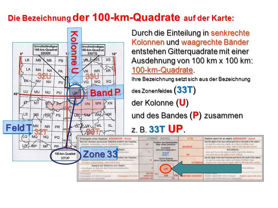 100-km-Quadrat 33TUP Die Bezeichnung der 100-km-Quadrate auf der Karte: Kolonne U Band P Feld T Zone 33 Durch die Einteilung in senkrechte Kolonnen un