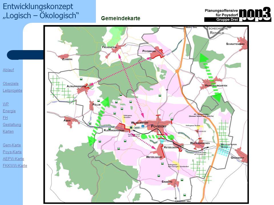 Ablauf Oberziele Leitprojekte WP Energie FH Gestaltung Karten Gem-Karte Poys-Karte AEPW-Karte FKKWW-Karte Entwicklungskonzept Logisch – Ökologisch Gemeindekarte
