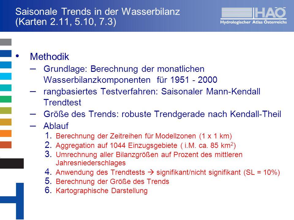 Saisonale Trends in der Wasserbilanz (Karten 2.11, 5.10, 7.3) Methodik – Grundlage: Berechnung der monatlichen Wasserbilanzkomponenten für 1951 - 2000