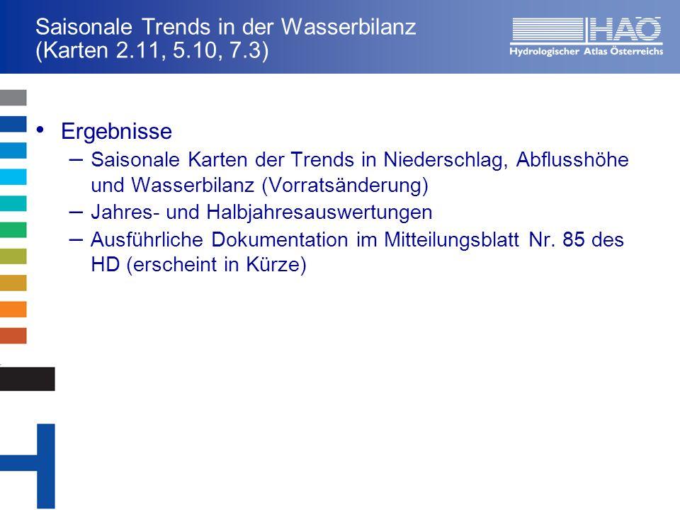 Saisonale Trends in der Wasserbilanz (Karten 2.11, 5.10, 7.3) Ergebnisse – Saisonale Karten der Trends in Niederschlag, Abflusshöhe und Wasserbilanz (