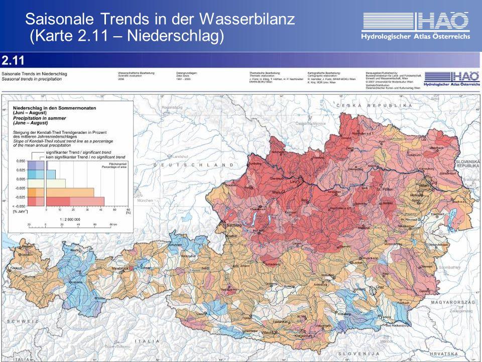 Saisonale Trends in der Wasserbilanz (Karte 2.11 – Niederschlag) Ergebnisse HerbstWinter FrühjahrSommer ca. + 45-90 mm seit 1951