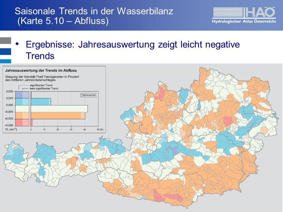 Saisonale Trends in der Wasserbilanz (Karte 5.10 – Abfluss) Ergebnisse: Jahresauswertung zeigt leicht negative Trends