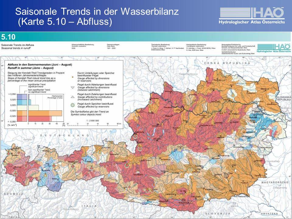 Saisonale Trends in der Wasserbilanz (Karte 5.10 – Abfluss) Ergebnisse HerbstWinter FrühjahrSommer