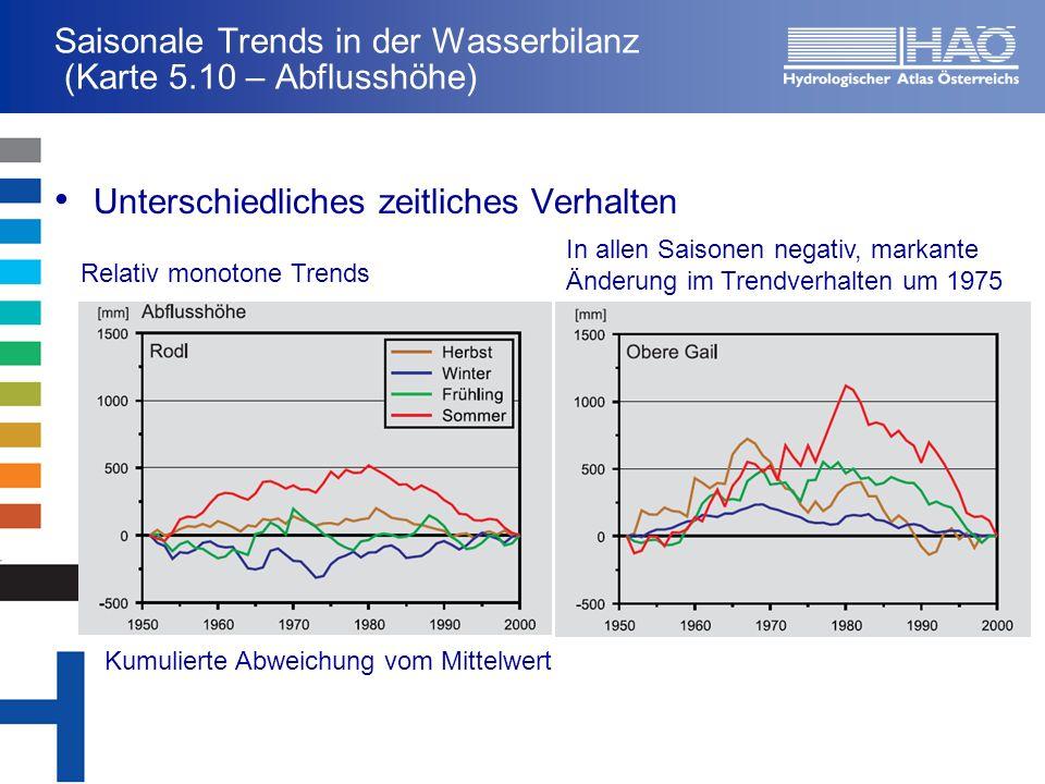Saisonale Trends in der Wasserbilanz (Karte 5.10 – Abflusshöhe) Unterschiedliches zeitliches Verhalten Kumulierte Abweichung vom Mittelwert In allen S