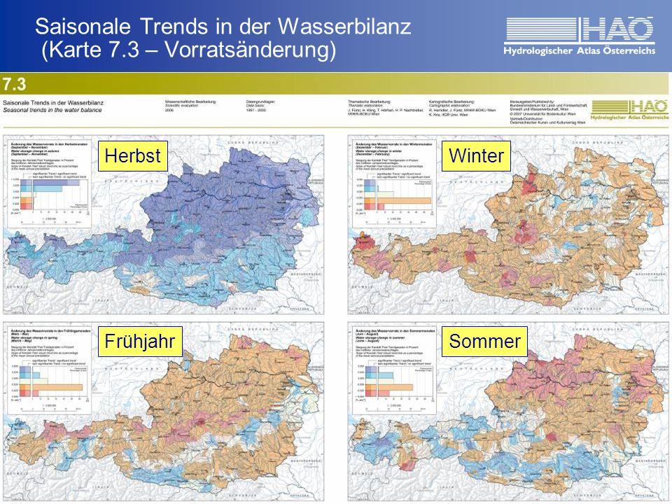 Saisonale Trends in der Wasserbilanz (Karte 7.3 – Vorratsänderung) Ergebnisse HerbstWinter FrühjahrSommer