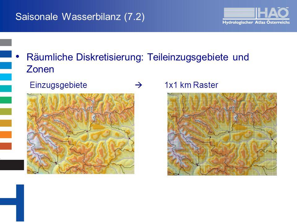 Saisonale Wasserbilanz (7.2) Räumliche Diskretisierung: Teileinzugsgebiete und Zonen Einzugsgebiete 1x1 km Raster