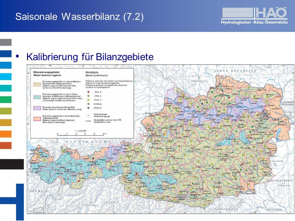 Saisonale Wasserbilanz (7.2) Kalibrierung für Bilanzgebiete