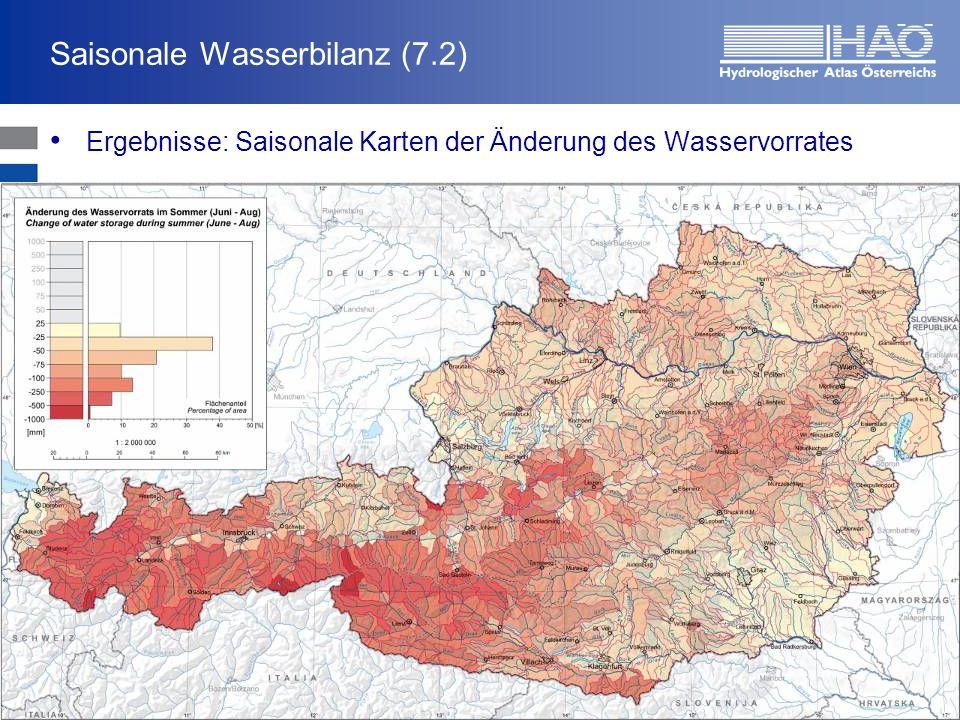 Saisonale Wasserbilanz (7.2) Ergebnisse: Saisonale Karten der Änderung des Wasservorrates HerbstWinter FrühjahrSommer