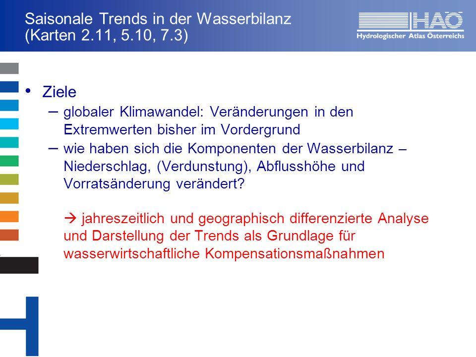 Saisonale Trends in der Wasserbilanz (Karten 2.11, 5.10, 7.3) Ziele – globaler Klimawandel: Veränderungen in den Extremwerten bisher im Vordergrund –