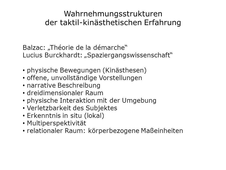 Wahrnehmungsstrukturen der taktil-kinästhetischen Erfahrung Balzac: Théorie de la démarche Lucius Burckhardt: Spaziergangswissenschaft physische Beweg