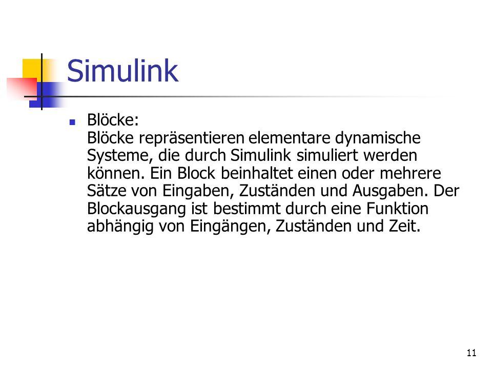 11 Simulink Blöcke: Blöcke repräsentieren elementare dynamische Systeme, die durch Simulink simuliert werden können.