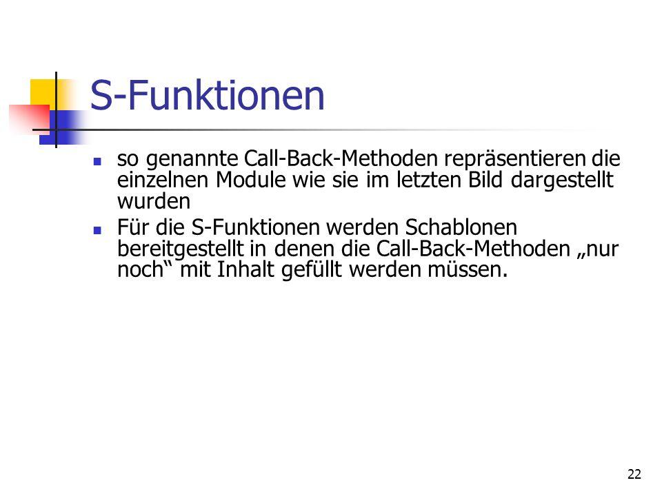 22 S-Funktionen so genannte Call-Back-Methoden repräsentieren die einzelnen Module wie sie im letzten Bild dargestellt wurden Für die S-Funktionen werden Schablonen bereitgestellt in denen die Call-Back-Methoden nur noch mit Inhalt gefüllt werden müssen.