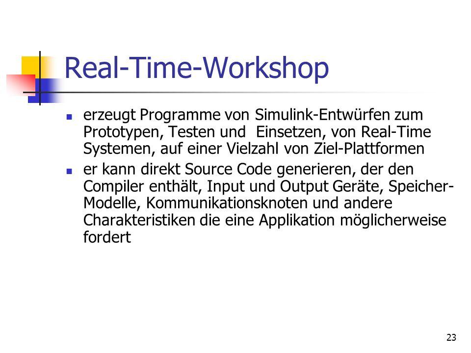 23 Real-Time-Workshop erzeugt Programme von Simulink-Entwürfen zum Prototypen, Testen und Einsetzen, von Real-Time Systemen, auf einer Vielzahl von Ziel-Plattformen er kann direkt Source Code generieren, der den Compiler enthält, Input und Output Geräte, Speicher- Modelle, Kommunikationsknoten und andere Charakteristiken die eine Applikation möglicherweise fordert
