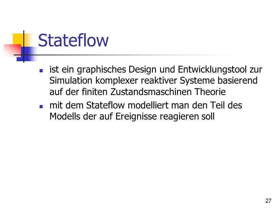 27 Stateflow ist ein graphisches Design und Entwicklungstool zur Simulation komplexer reaktiver Systeme basierend auf der finiten Zustandsmaschinen Theorie mit dem Stateflow modelliert man den Teil des Modells der auf Ereignisse reagieren soll