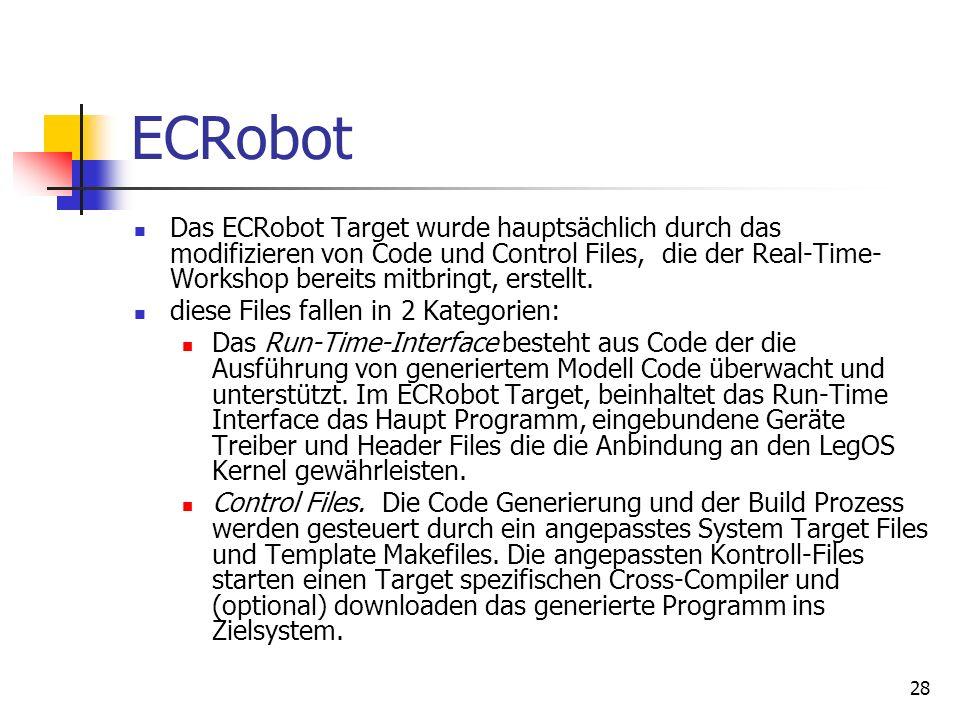 28 ECRobot Das ECRobot Target wurde hauptsächlich durch das modifizieren von Code und Control Files, die der Real-Time- Workshop bereits mitbringt, erstellt.
