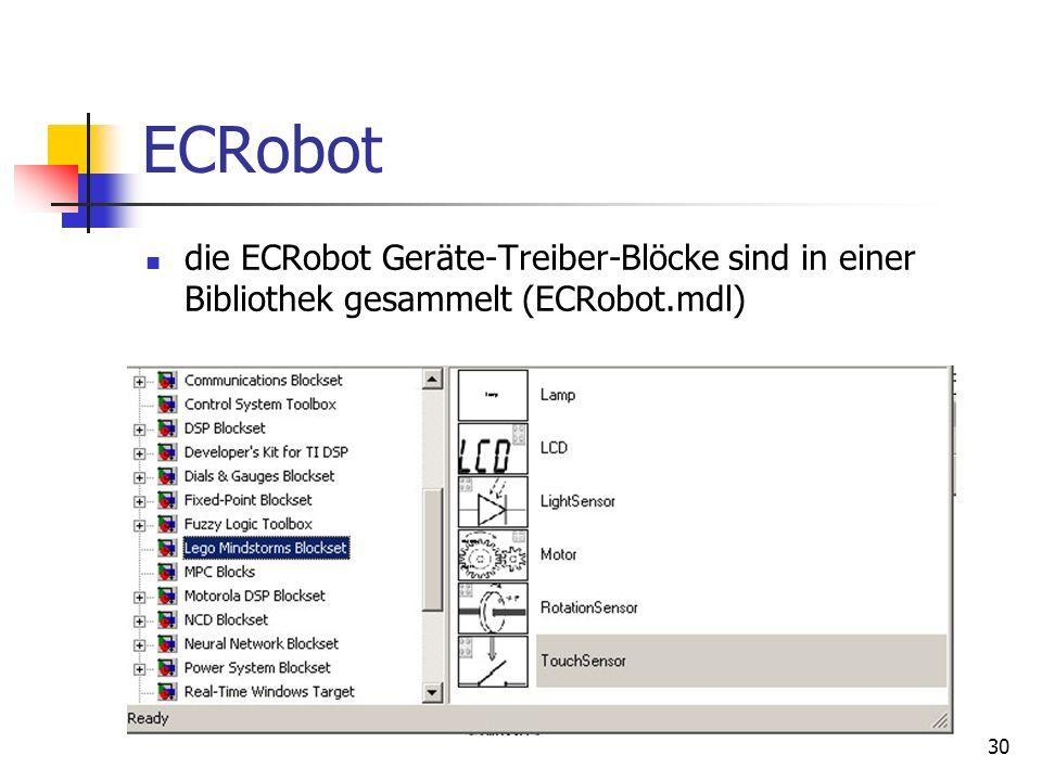 30 ECRobot die ECRobot Geräte-Treiber-Blöcke sind in einer Bibliothek gesammelt (ECRobot.mdl)