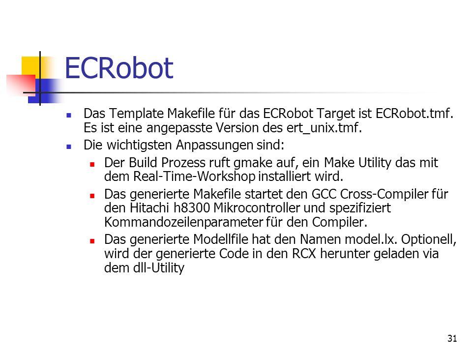 31 ECRobot Das Template Makefile für das ECRobot Target ist ECRobot.tmf.