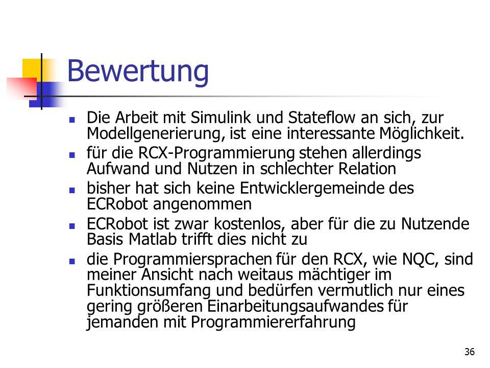 36 Bewertung Die Arbeit mit Simulink und Stateflow an sich, zur Modellgenerierung, ist eine interessante Möglichkeit.