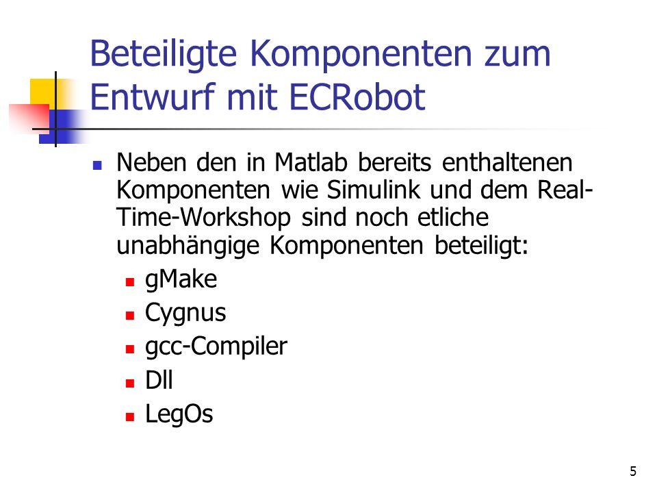 5 Beteiligte Komponenten zum Entwurf mit ECRobot Neben den in Matlab bereits enthaltenen Komponenten wie Simulink und dem Real- Time-Workshop sind noch etliche unabhängige Komponenten beteiligt: gMake Cygnus gcc-Compiler Dll LegOs
