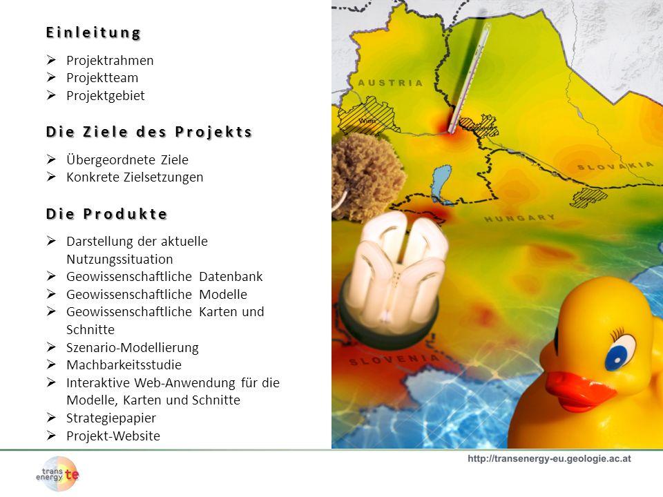 Projektrahmen Das Projekt TRANSENERGY wird durch das EFRE-Programm (Europäischer Fond für regionale Entwicklung) CENTRAL EUROPE am Tätigkeitsfeld 3.1, (Developing a High Quality Environment by Managing and Protecting Natural Resources and Heritage) gefördert.