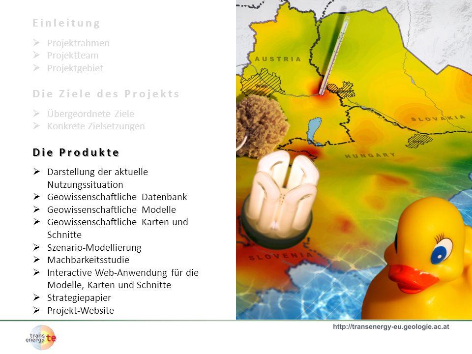 Einleitung Projektrahmen Projektteam Projektgebiet Die Ziele des Projekts Übergeordnete Ziele Konkrete Zielsetzungen Die Produkte Darstellung der aktu