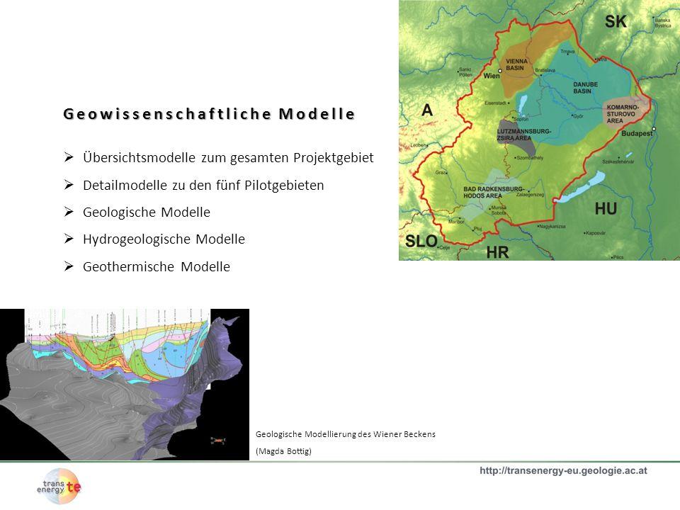 Geowissenschaftliche Modelle Übersichtsmodelle zum gesamten Projektgebiet Detailmodelle zu den fünf Pilotgebieten Geologische Modelle Hydrogeologische