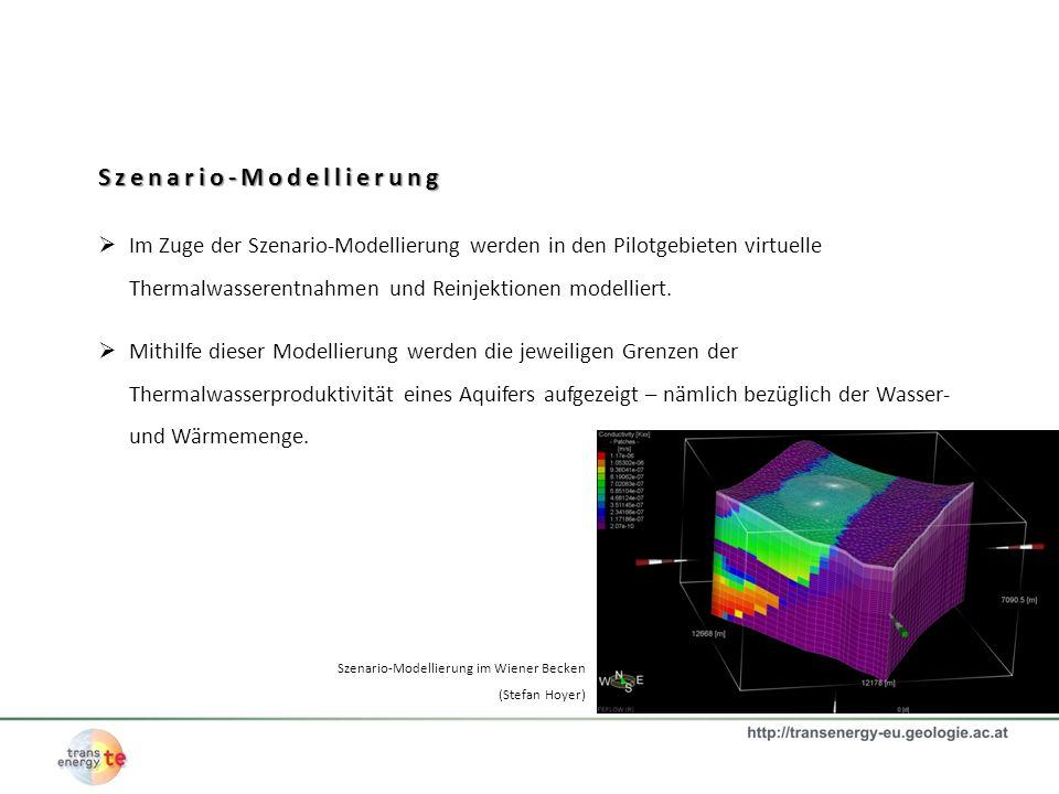 Szenario-Modellierung Im Zuge der Szenario-Modellierung werden in den Pilotgebieten virtuelle Thermalwasserentnahmen und Reinjektionen modelliert. Mit