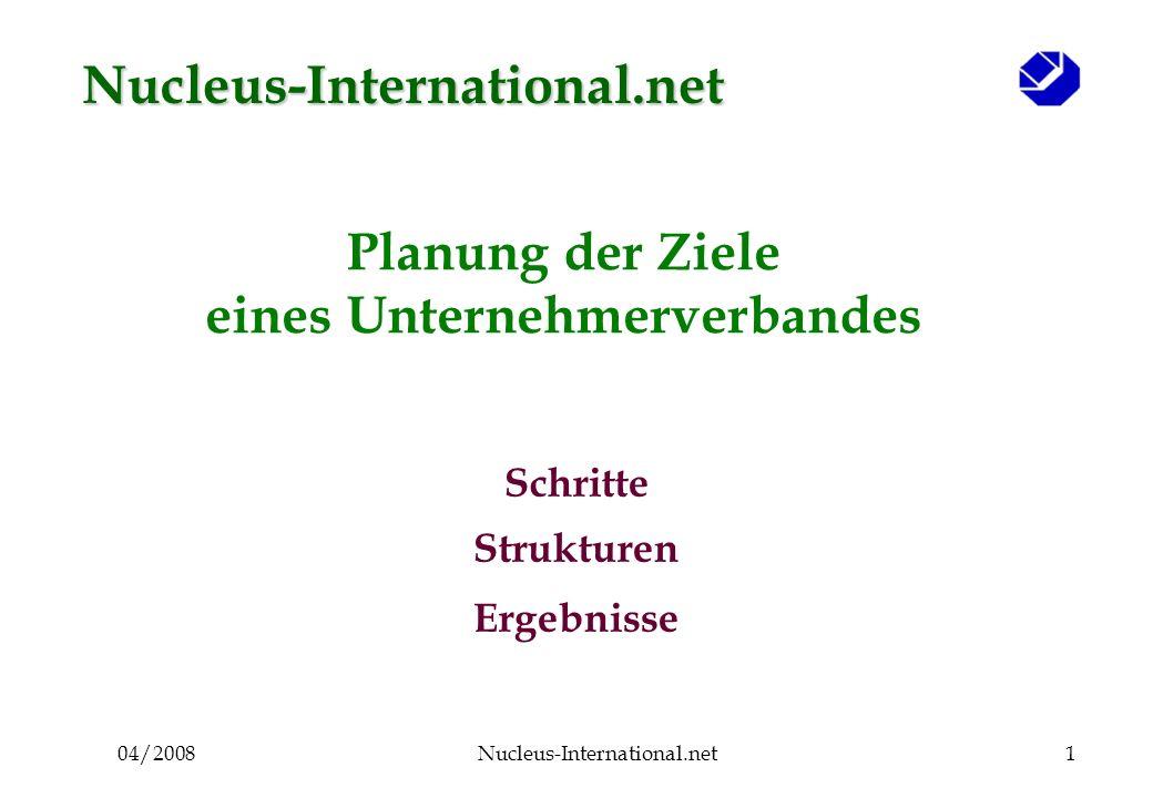 04/2008Nucleus-International.net1 Planung der Ziele eines Unternehmerverbandes Schritte Strukturen Ergebnisse Nucleus-International.net