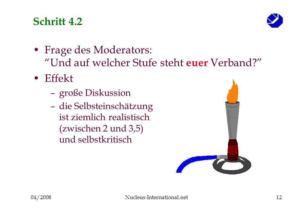 04/2008Nucleus-International.net12 Schritt 4.2 Frage des Moderators: Und auf welcher Stufe steht euer Verband.