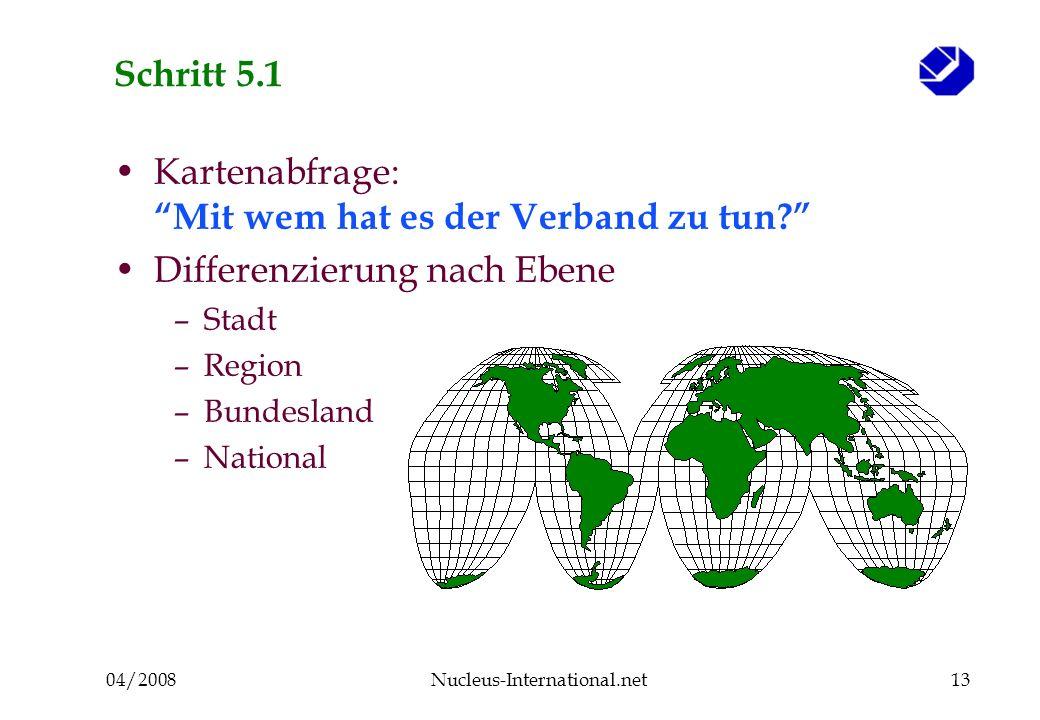04/2008Nucleus-International.net13 Schritt 5.1 Kartenabfrage: Mit wem hat es der Verband zu tun.