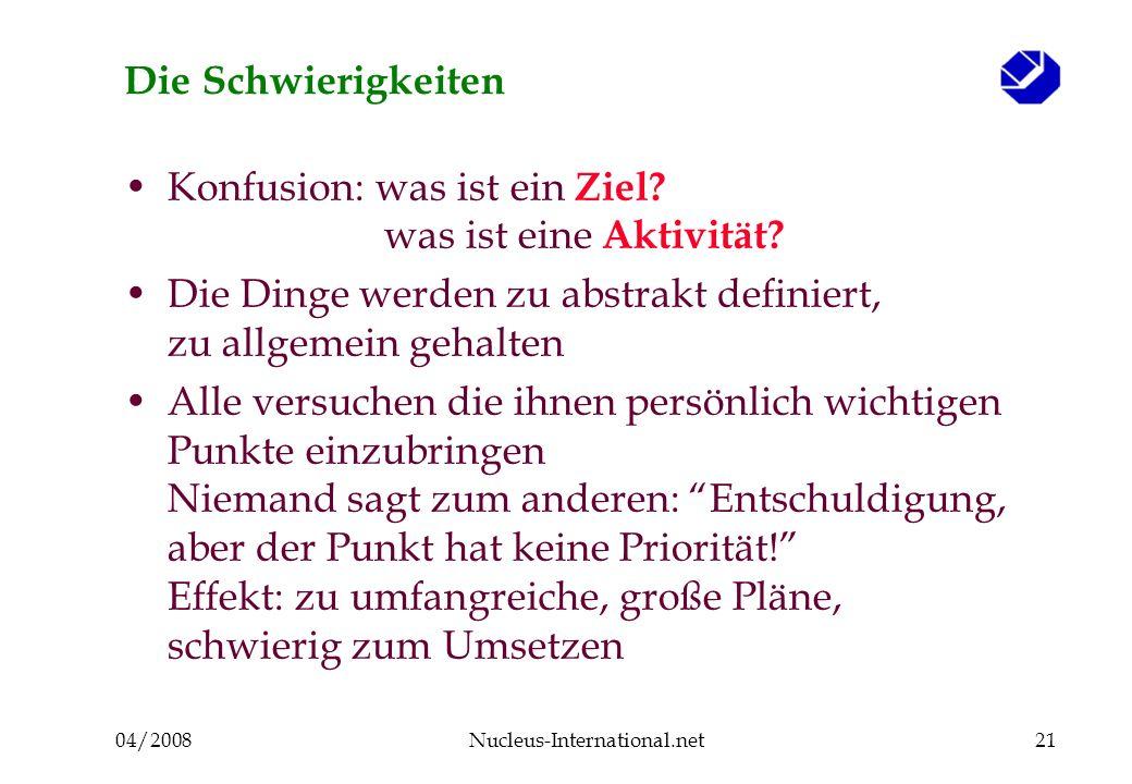 04/2008Nucleus-International.net21 Die Schwierigkeiten Konfusion: was ist ein Ziel.