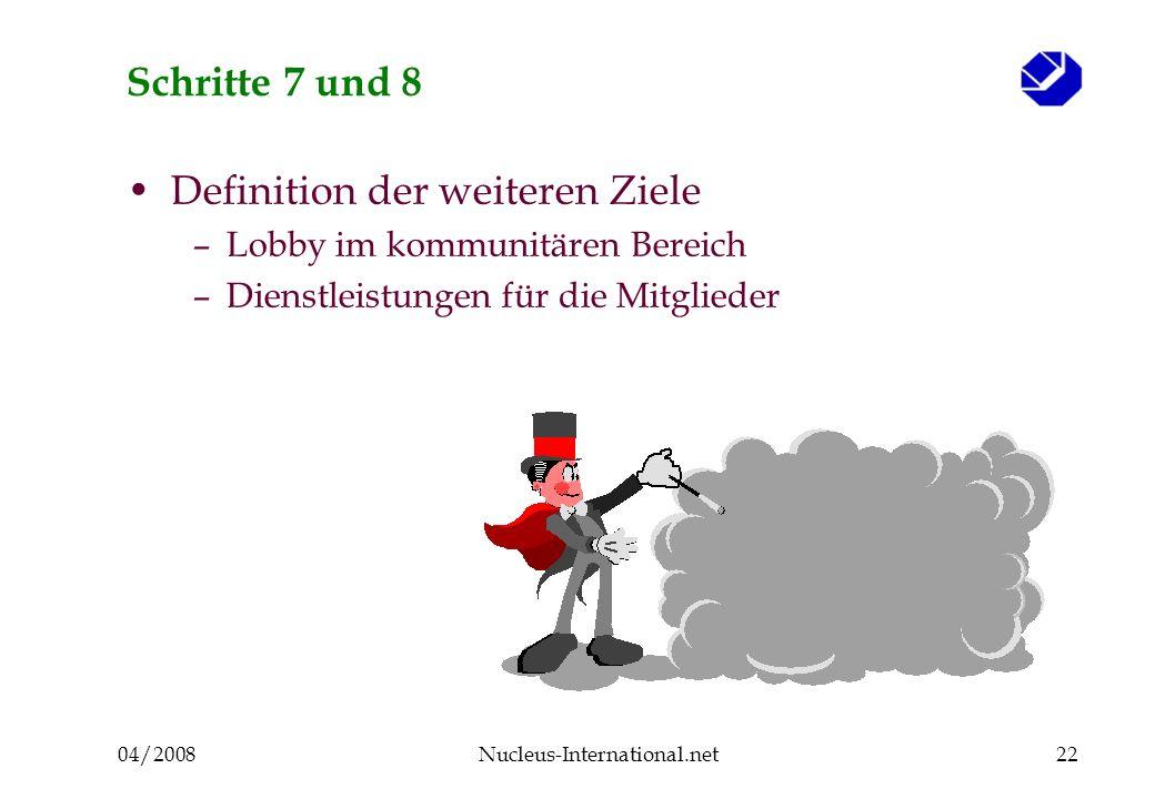 04/2008Nucleus-International.net22 Schritte 7 und 8 Definition der weiteren Ziele –Lobby im kommunitären Bereich –Dienstleistungen für die Mitglieder