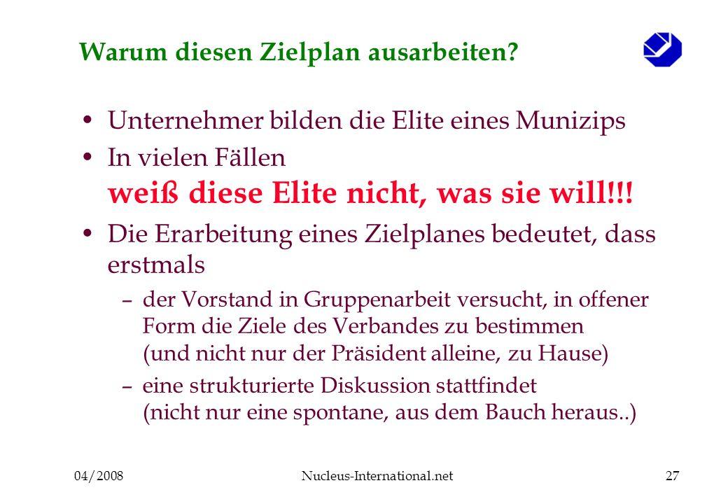 04/2008Nucleus-International.net28 Ergebnisse der Evaluierung eines Planes (Der Verband versteckte den Plan im Schrank) viele Aktivitäten ohne Konsistenz, Zielorientierung...