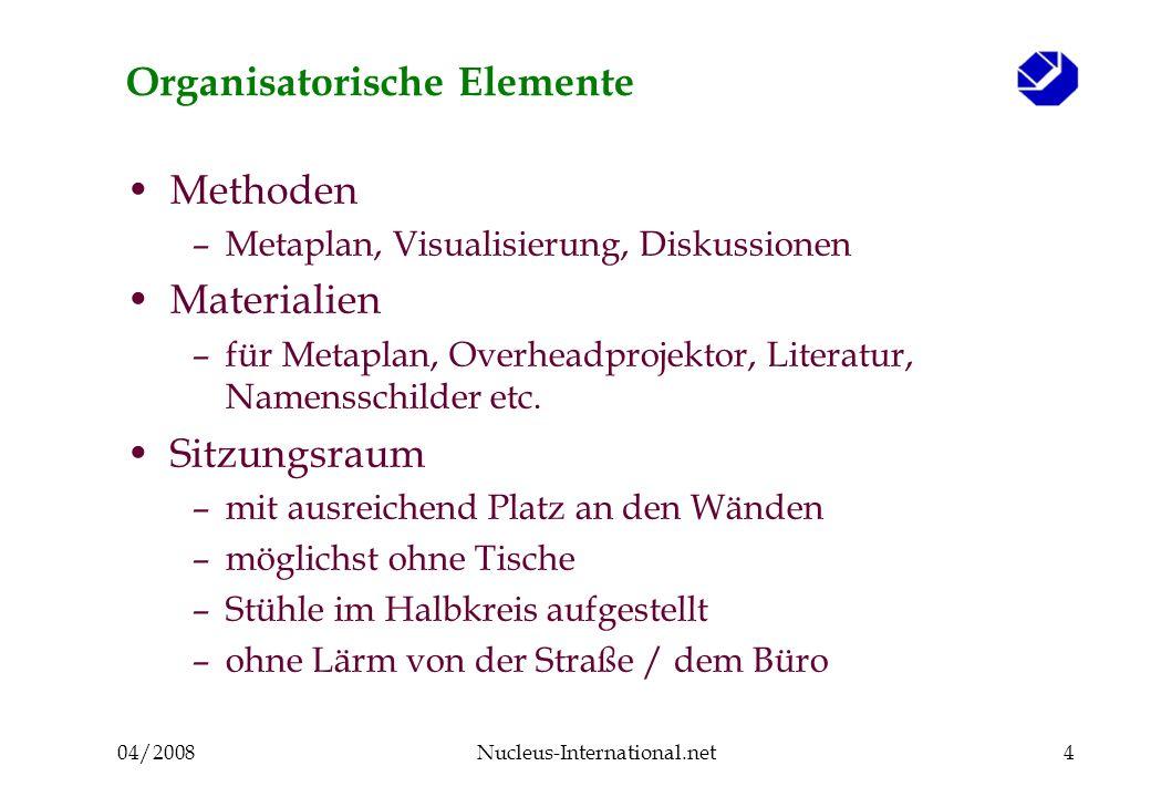 04/2008Nucleus-International.net5 Schritte 1 und 2 Vorstellung der Teilnehmer (Karten) Erläuterung der Metaplan-Methode –Benutzung der Filzschreiber, Beschriftung der Karten, Schreibform (Groß- / Kleinbuchstaben), Farben, etc.