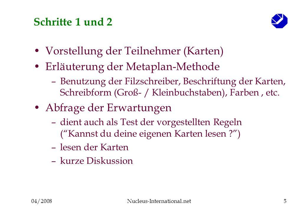 04/2008Nucleus-International.net6 Schritt 3.1 Kartenabfrage : Welche Funktionen und Aufgaben hat ein Unternehmensverband?