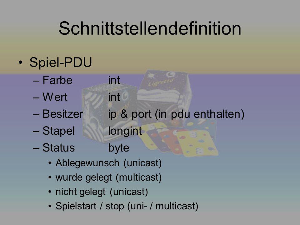 Schnittstellendefinition Spiel-PDU –Farbeint –Wertint –Besitzerip & port (in pdu enthalten) –Stapellongint –Statusbyte Ablegewunsch (unicast) wurde ge