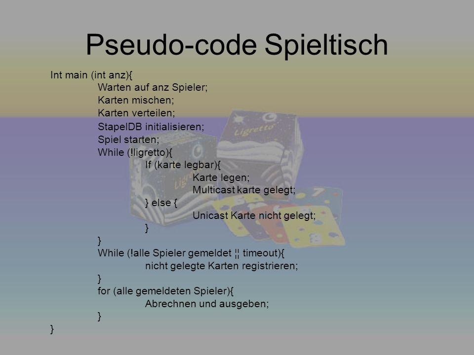 Pseudo-code Spieltisch Int main (int anz){ Warten auf anz Spieler; Karten mischen; Karten verteilen; StapelDB initialisieren; Spiel starten; While (!l