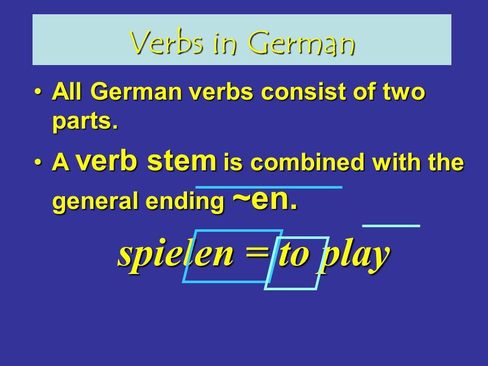 Verbs in German All German verbs consist of two parts.All German verbs consist of two parts.