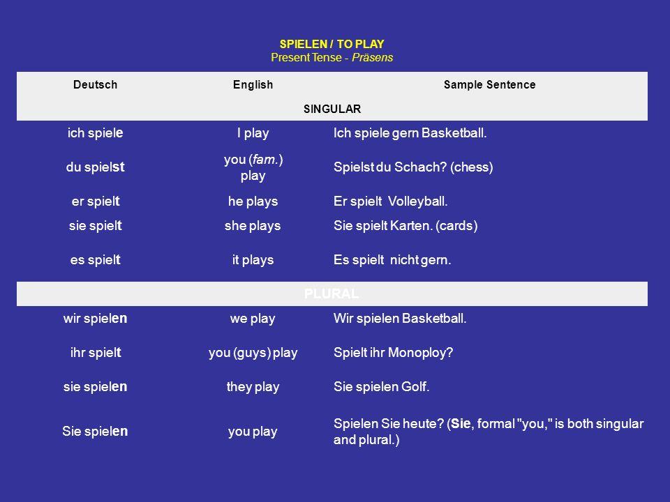 SPIELEN / TO PLAY Present Tense - Präsens DeutschEnglishSample Sentence SINGULAR ich spieleI playIch spiele gern Basketball.
