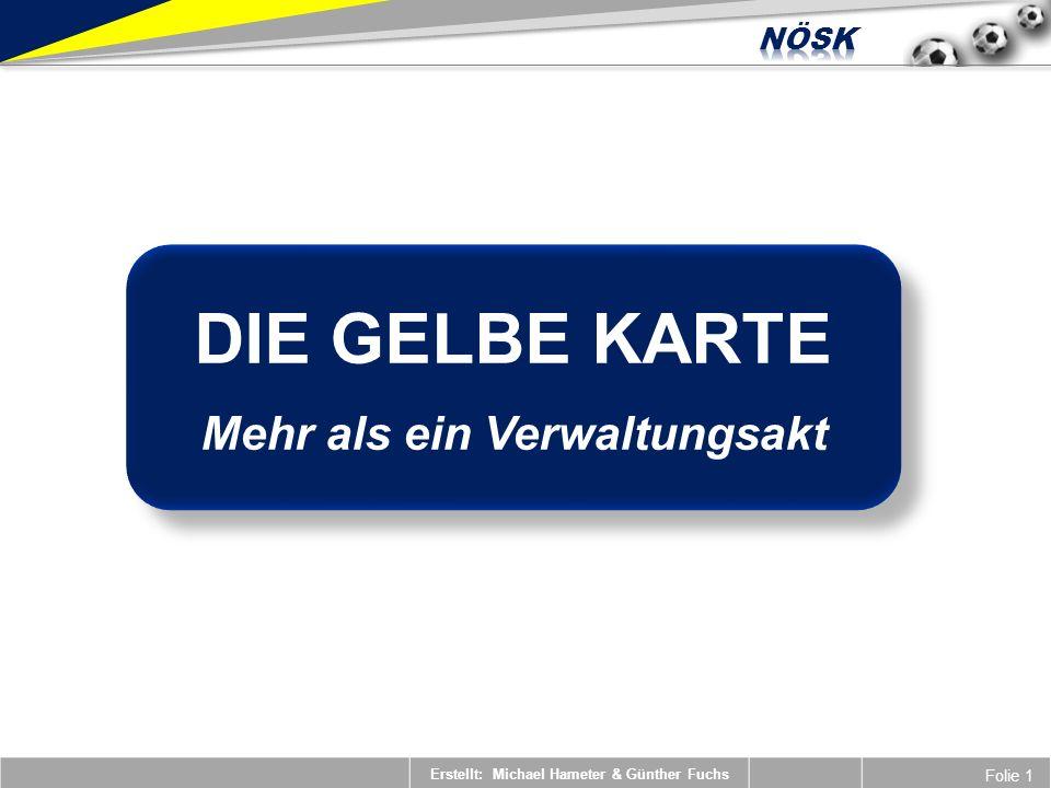 Erstellt: Michael Hameter & Günther Fuchs Folie 1 DIE GELBE KARTE Mehr als ein Verwaltungsakt DIE GELBE KARTE Mehr als ein Verwaltungsakt