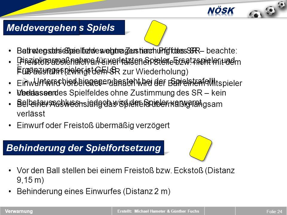 Erstellt: Michael Hameter & Günther Fuchs Folie 24 Ball wegschießen bzw. wegtragen nach Pfiff des SR Freistoß absichtlich an einer falschen Stelle bzw