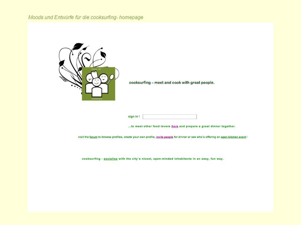 Moods und Entwürfe für die cooksurfing- homepage