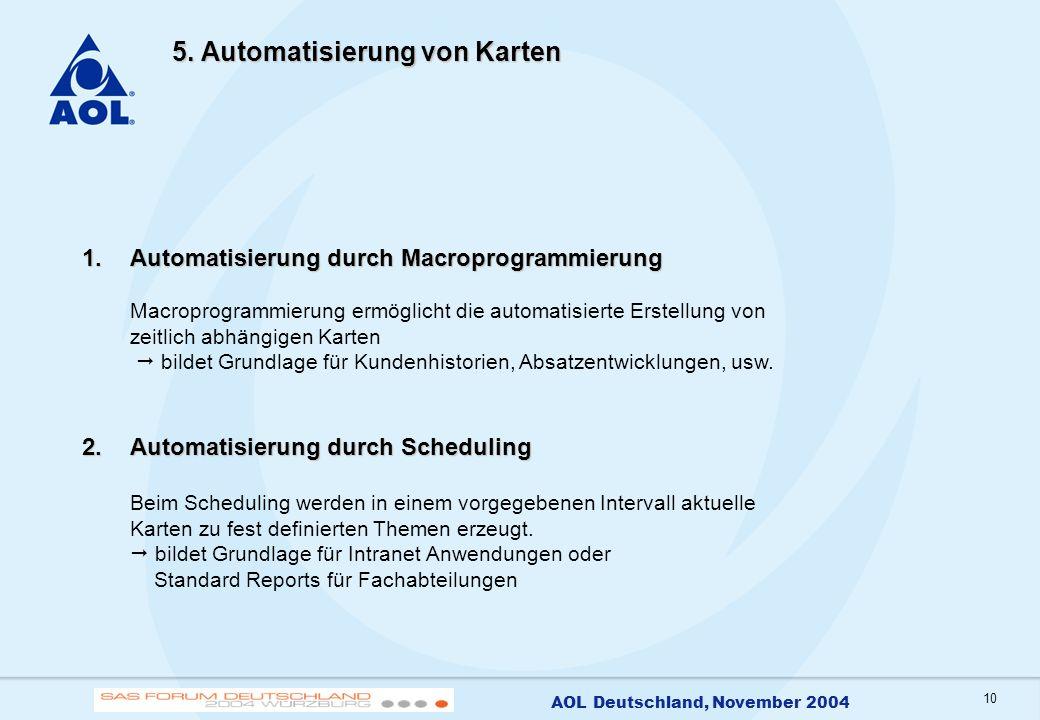 10 AOL Deutschland, November 2004 5. Automatisierung von Karten 1.Automatisierung durch Macroprogrammierung 1.Automatisierung durch Macroprogrammierun