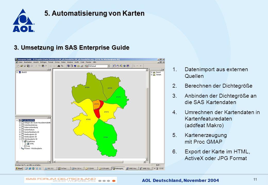 11 AOL Deutschland, November 2004 5. Automatisierung von Karten 3. Umsetzung im SAS Enterprise Guide 1.Datenimport aus externen Quellen 2.Berechnen de