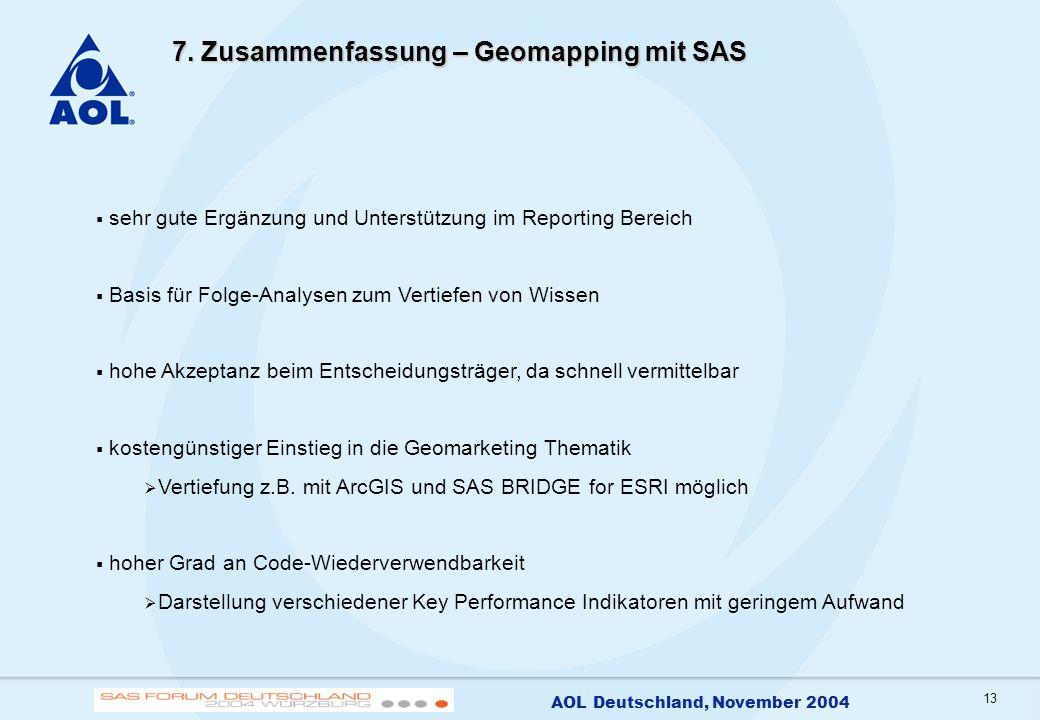 13 AOL Deutschland, November 2004 7. Zusammenfassung – Geomapping mit SAS sehr gute Ergänzung und Unterstützung im Reporting Bereich Basis für Folge-A